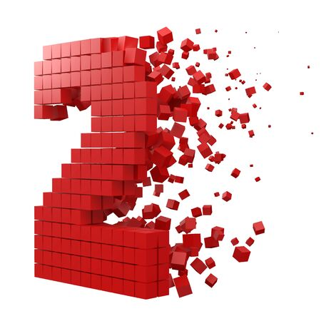 number 2 shaped data block. version with red cubes. 3d pixel style vector illustration. suitable for blockchain, technology, computer and abstract themes.
