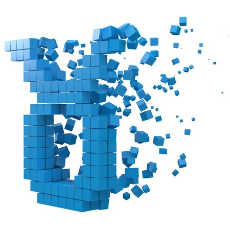 taurus zodiac sign shaped data block. version with blue cubes. 3d pixel style vector illustration. suitable for blockchain, technology, computer and abstract themes. 일러스트