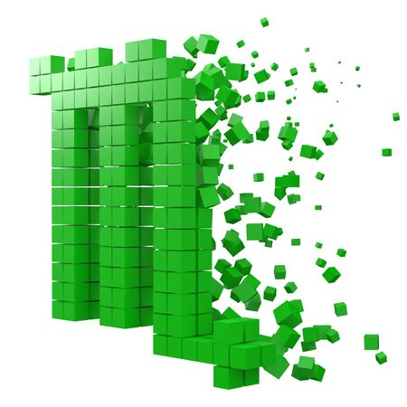 scorpio zodiac sign shaped data block. version with green cubes. 3d pixel style vector illustration. suitable for blockchain, technology, computer and abstract themes.
