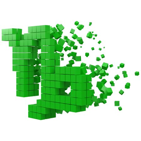 capricorn zodiac sign shaped data block. version with green cubes. 3d pixel style vector illustration. suitable for blockchain, technology, computer and abstract themes.