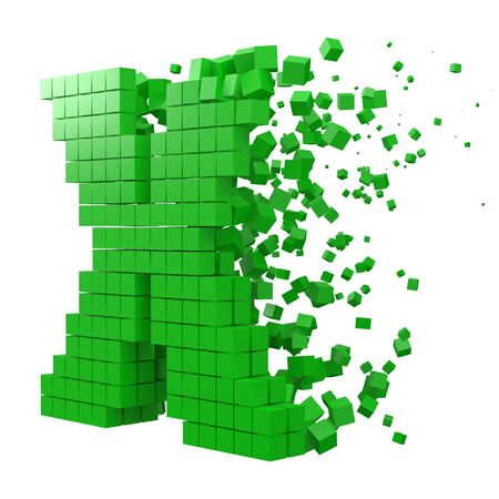 letter X shaped data block. version with green cubes. 3d pixel style vector illustration. suitable for blockchain, technology, computer and abstract themes. 일러스트