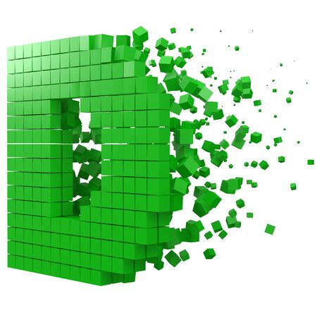 letter D shaped data block. version with green cubes. 3d pixel style vector illustration. suitable for blockchain, technology, computer and abstract themes.