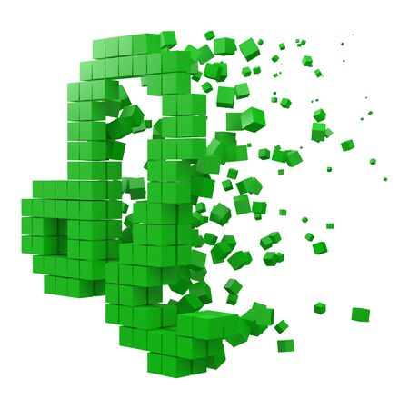 leo zodiac sign shaped data block. version with green cubes. 3d pixel style vector illustration. suitable for blockchain, technology, computer and abstract themes.