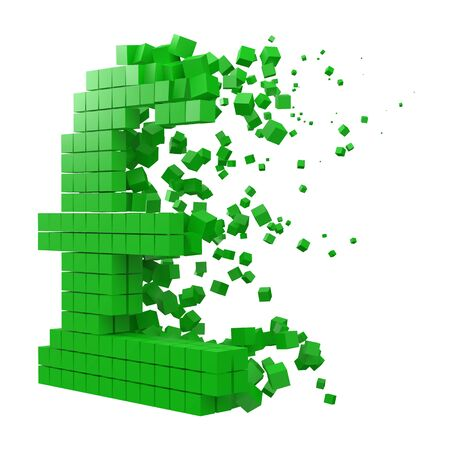 pound sign shaped data block. version with green cubes. 3d pixel style vector illustration. suitable for blockchain, technology, computer and abstract themes.