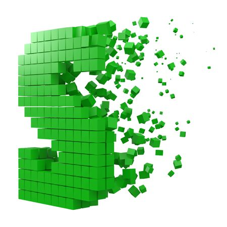 letter S shaped data block. version with green cubes. 3d pixel style vector illustration. suitable for blockchain, technology, computer and abstract themes. 일러스트