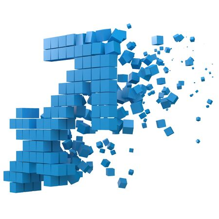 sagittarius zodiac sign shaped data block. version with blue cubes. 3d pixel style vector illustration. suitable for blockchain, technology, computer and abstract themes.