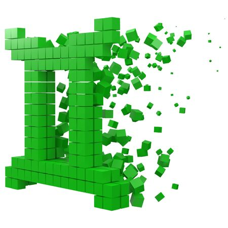 twins zodiac sign shaped data block. version with green cubes. 3d pixel style vector illustration. suitable for blockchain, technology, computer and abstract themes.
