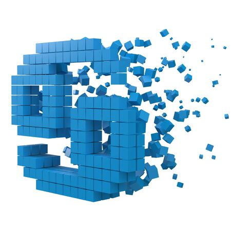 cancer zodiac sign shaped data block. version with blue cubes. 3d pixel style vector illustration. suitable for blockchain, technology, computer and abstract themes.