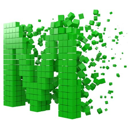 letter M shaped data block. version with green cubes. 3d pixel style vector illustration. suitable for blockchain, technology, computer and abstract themes.