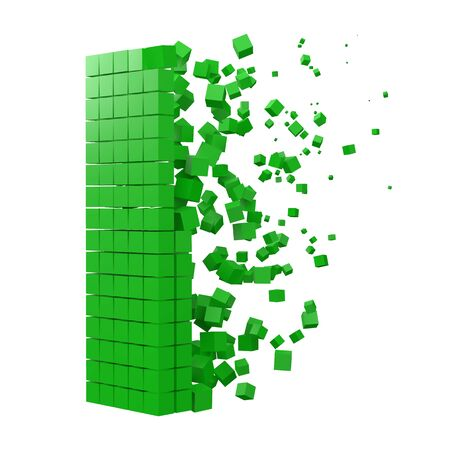 letter I shaped data block. version with green cubes. 3d pixel style vector illustration. suitable for blockchain, technology, computer and abstract themes.