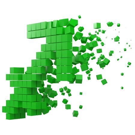 sagittarius zodiac sign shaped data block. version with green cubes. 3d pixel style vector illustration. suitable for blockchain, technology, computer and abstract themes.