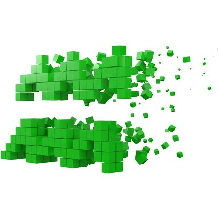 aquarius zodiac sign shaped data block. version with green cubes. 3d pixel style vector illustration. suitable for blockchain, technology, computer and abstract themes.