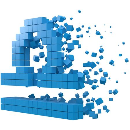 libra zodiac sign shaped data block. version with blue cubes. 3d pixel style vector illustration. suitable for blockchain, technology, computer and abstract themes.