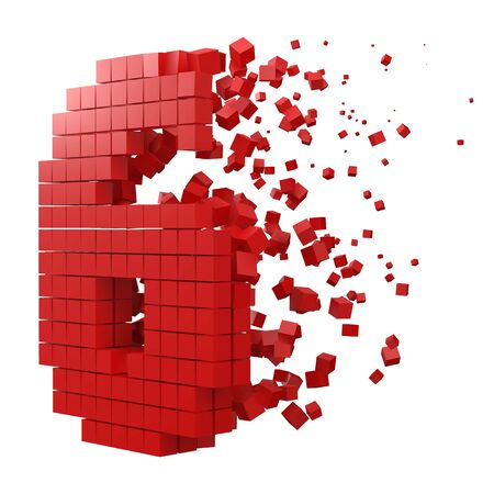 number 6 shaped data block. version with red cubes. 3d pixel style vector illustration. suitable for blockchain, technology, computer and abstract themes.