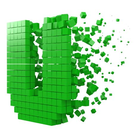 letter U shaped data block. version with green cubes. 3d pixel style vector illustration. suitable for blockchain, technology, computer and abstract themes.