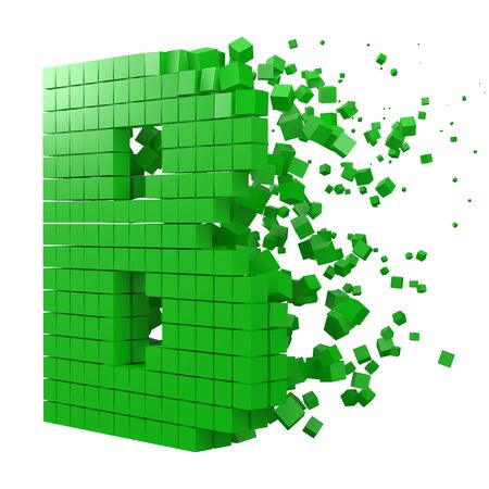letter B shaped data block. version with green cubes. 3d pixel style vector illustration. suitable for blockchain, technology, computer and abstract themes.