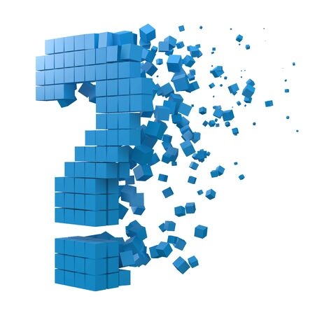 question sign shaped data block. version with blue cubes. 3d pixel style vector illustration. suitable for blockchain, technology, computer and abstract themes. Ilustração