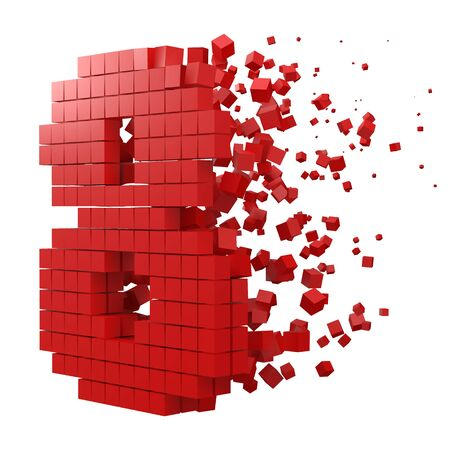 number 8 shaped data block. version with red cubes. 3d pixel style vector illustration. suitable for blockchain, technology, computer and abstract themes.