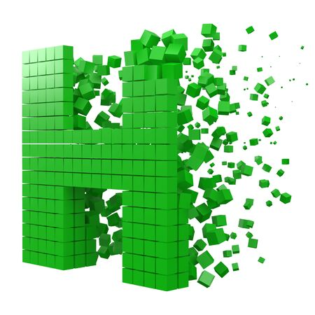 letter H shaped data block. version with green cubes. 3d pixel style vector illustration. suitable for blockchain, technology, computer and abstract themes. 일러스트