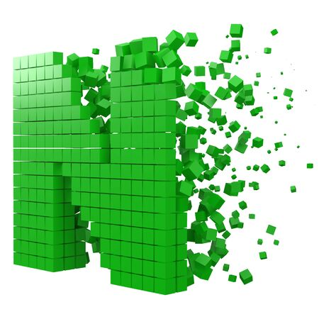 letter N shaped data block. version with green cubes. 3d pixel style vector illustration. suitable for blockchain, technology, computer and abstract themes. 일러스트