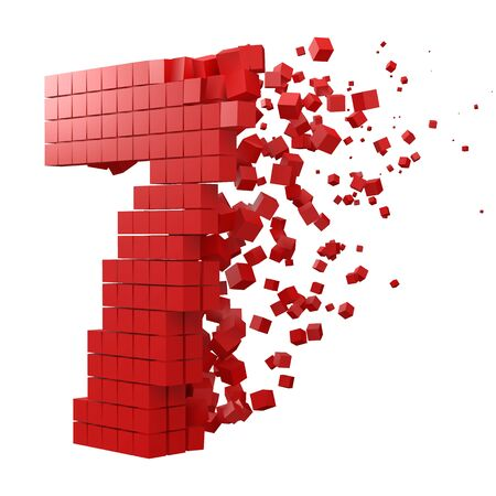 number 7 shaped data block. version with red cubes. 3d pixel style vector illustration. suitable for blockchain, technology, computer and abstract themes. 일러스트