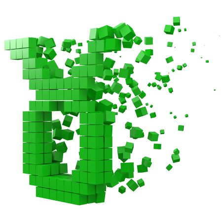 taurus zodiac sign shaped data block. version with green cubes. 3d pixel style vector illustration. suitable for blockchain, technology, computer and abstract themes.