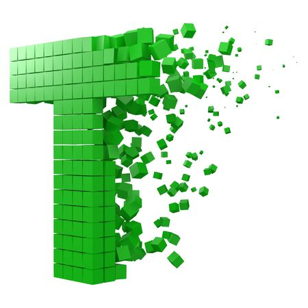 letter T shaped data block. version with green cubes. 3d pixel style vector illustration. suitable for blockchain, technology, computer and abstract themes.