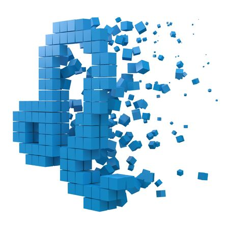 leo zodiac sign shaped data block. version with blue cubes. 3d pixel style vector illustration. suitable for blockchain, technology, computer and abstract themes.