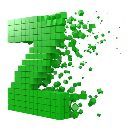 letter Z shaped data block. version with green cubes. 3d pixel style vector illustration. suitable for blockchain, technology, computer and abstract themes. 일러스트