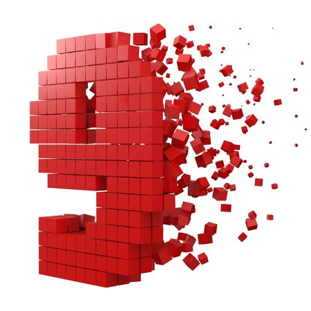 number 9 shaped data block. version with red cubes. 3d pixel style vector illustration. suitable for blockchain, technology, computer and abstract themes. 일러스트