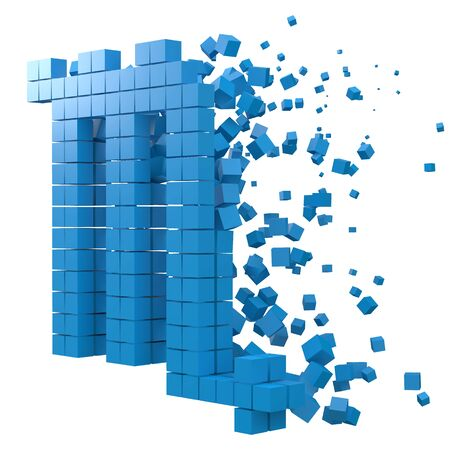scorpio zodiac sign shaped data block. version with blue cubes. 3d pixel style vector illustration. suitable for blockchain, technology, computer and abstract themes. 일러스트