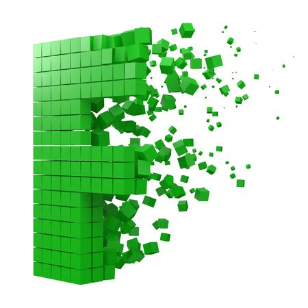 letter F shaped data block. version with green cubes. 3d pixel style vector illustration. suitable for blockchain, technology, computer and abstract themes.