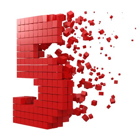 number 5 shaped data block. version with red cubes. 3d pixel style vector illustration. suitable for blockchain, technology, computer and abstract themes.