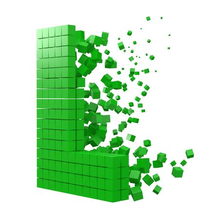 letter L shaped data block. version with green cubes. 3d pixel style vector illustration. suitable for blockchain, technology, computer and abstract themes. 일러스트