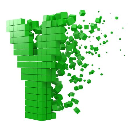 letter Y shaped data block. version with green cubes. 3d pixel style vector illustration. suitable for blockchain, technology, computer and abstract themes.