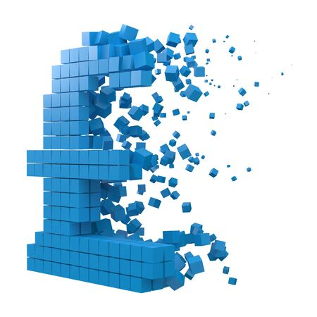 pound sign shaped data block. version with blue cubes. 3d pixel style vector illustration. suitable for blockchain, technology, computer and abstract themes. 일러스트