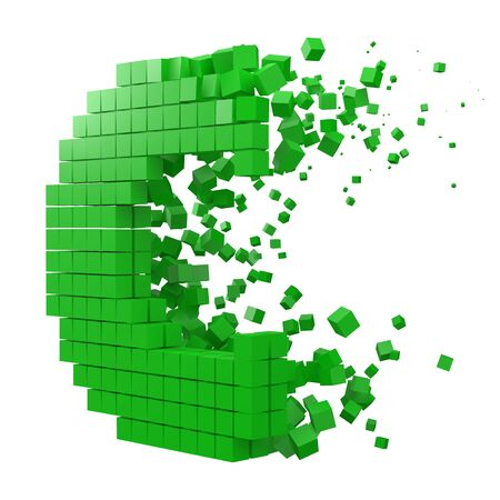 letter C shaped data block. version with green cubes. 3d pixel style vector illustration. suitable for blockchain, technology, computer and abstract themes.