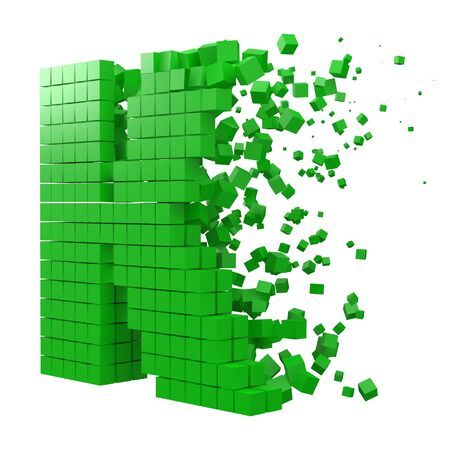 letter K shaped data block. version with green cubes. 3d pixel style vector illustration. suitable for blockchain, technology, computer and abstract themes.
