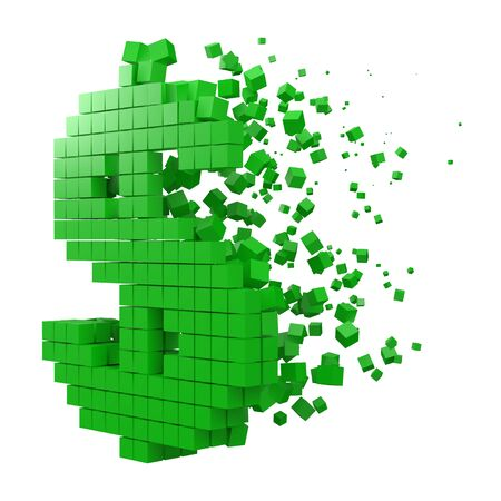 dollar sign shaped data block. version with green cubes. 3d pixel style vector illustration. suitable for blockchain, technology, computer and abstract themes.