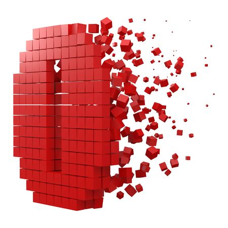 number 0 shaped data block. version with red cubes. 3d pixel style vector illustration. suitable for blockchain, technology, computer and abstract themes.