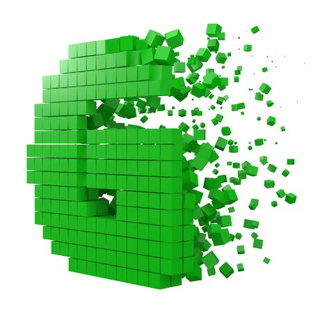 letter G shaped data block. version with green cubes. 3d pixel style vector illustration. suitable for blockchain, technology, computer and abstract themes. 일러스트