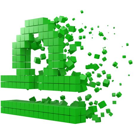 libra zodiac sign shaped data block. version with green cubes. 3d pixel style vector illustration. suitable for blockchain, technology, computer and abstract themes.