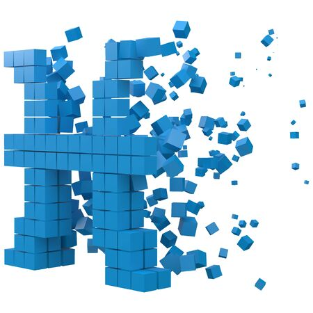 pisces zodiac sign shaped data block. version with blue cubes. 3d pixel style vector illustration. suitable for blockchain, technology, computer and abstract themes.