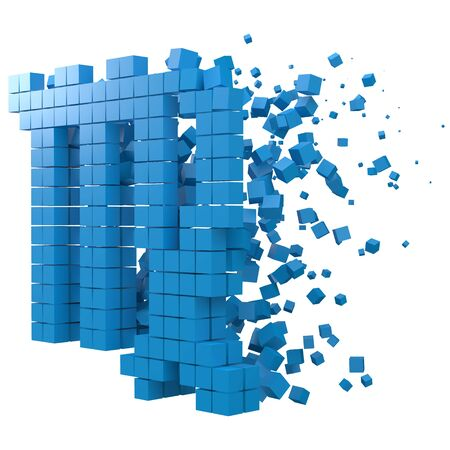 virgo zodiac sign shaped data block. version with blue cubes. 3d pixel style vector illustration. suitable for blockchain, technology, computer and abstract themes.