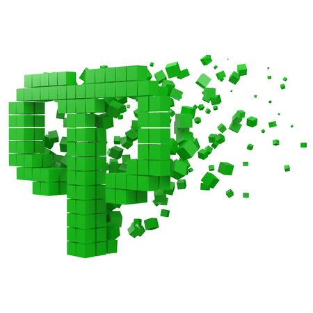 aries zodiac sign shaped data block. version with green cubes. 3d pixel style vector illustration. suitable for blockchain, technology, computer and abstract themes.