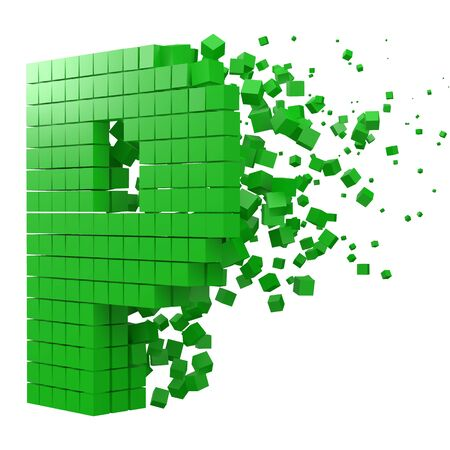 letter P shaped data block. version with green cubes. 3d pixel style vector illustration. suitable for blockchain, technology, computer and abstract themes.