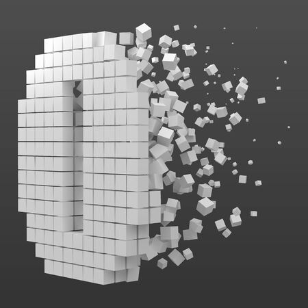 number shaped data block. version with white cubes. 3d pixel style vector illustration. suitable for blockchain, technology, computer and abstract themes.