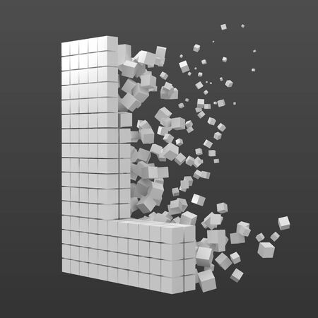 letter L shaped data block. version with white cubes. 3d pixel style vector illustration. suitable for blockchain, technology, computer and abstract themes.