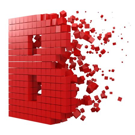 letter B shaped data block. version with red cubes. 3d pixel style vector illustration. suitable for blockchain, technology, computer and abstract themes.