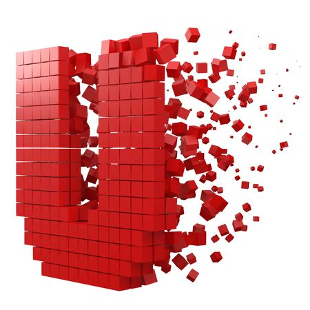 letter U shaped data block. version with red cubes. 3d pixel style vector illustration. suitable for blockchain, technology, computer and abstract themes.